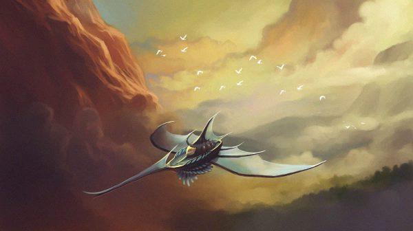 Barco volador entre niebla