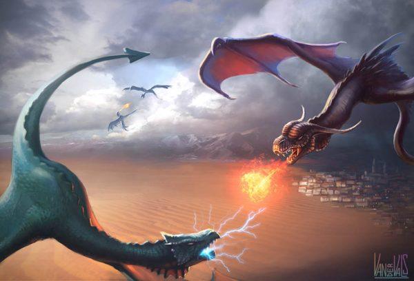 Dragón de fuego contra dragón de rayo
