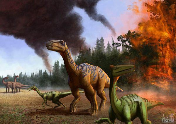 Dinosaurios huyendo del fuego. Iguanodón y Pelecanimimus