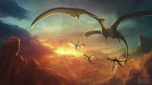 Dragón con sus bebés