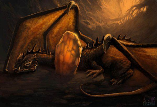 Dragón incubando un huevo