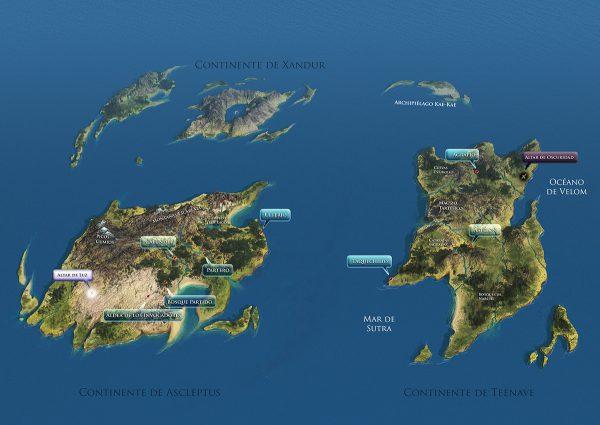 Mapamundi realizado en 3d con Mudbox y Vue. Leyendas con Photoshop