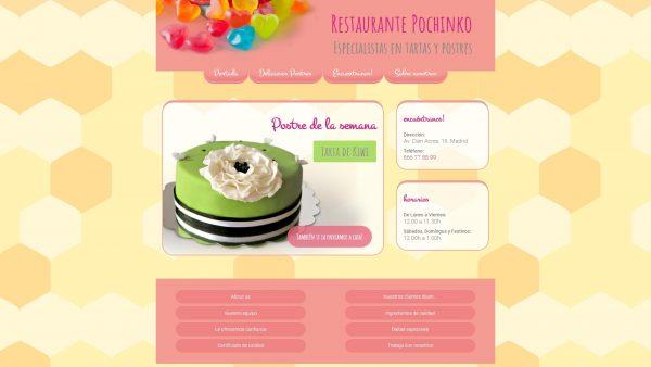 Captura de pantalla de la web de tartas Pochinko