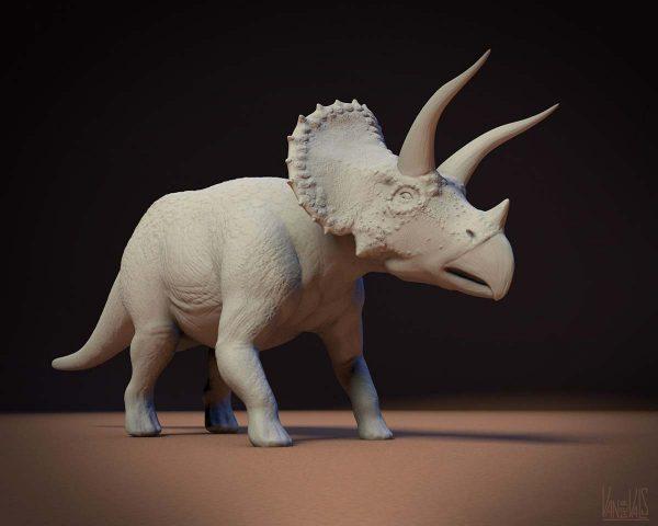 Modelo 3d de dinosaurio Triceratops realizado con Mudbox y Cinema 4D