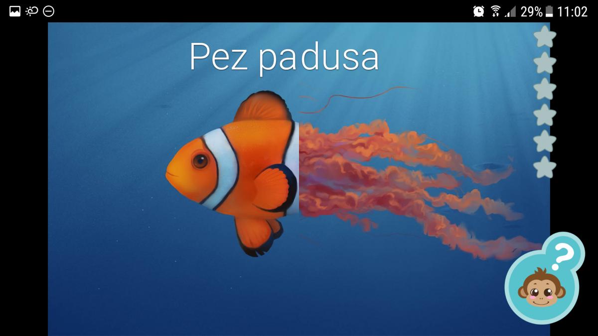 Aprende los animales: mezclando pez payaso y medusa.