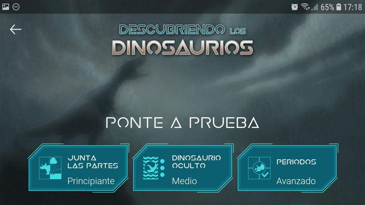 Enciclopedia de dinosaurios: ponte a prueba, minijuegos.